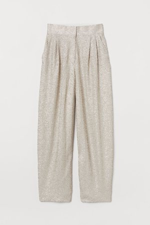 Wide-leg Sequined Pants - Gray