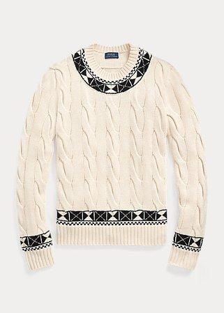 Knit-Trim Cable Cotton Sweater