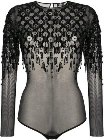 transparent sequin bodysuit