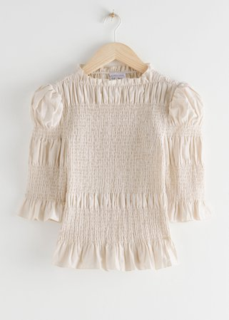 Fitted Smocked Ruffle Top - White - Tops - & Other Stories