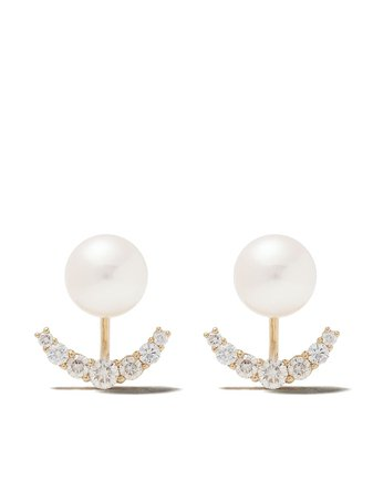 Yoko London 18Kt Yellow Gold Novus Freshwater Pearl And Diamond Earrings | Farfetch.com