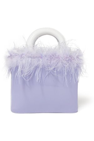 STAUD | Nic feather-trimmed patent-leather tote | NET-A-PORTER.COM