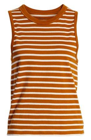 Madewell Northside Stripe Vintage Muscle Tank Orange