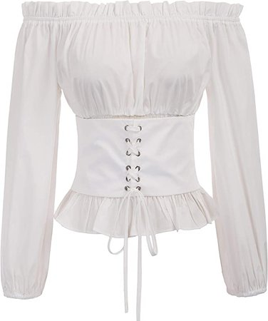 SCARLET DARKNESS Womens Renaissance Peasant Shirt Off Shoulder Boho Blouse Top: Clothing