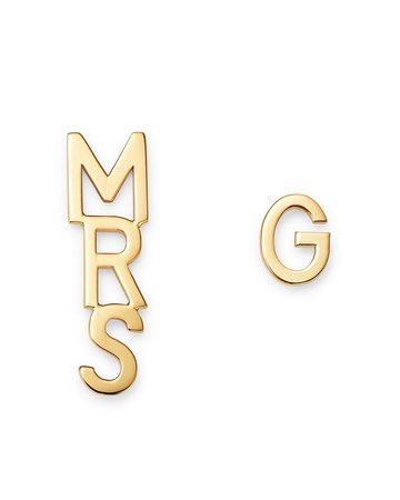 Zoe Lev 14K Yellow Gold Mrs. & Initial Earrings | Bloomingdale's