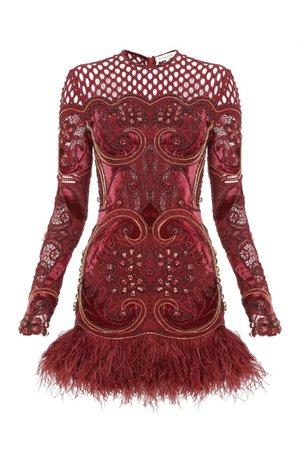 BEADED MINI DRESS WITH FEATHERS - RAISAVANESSA