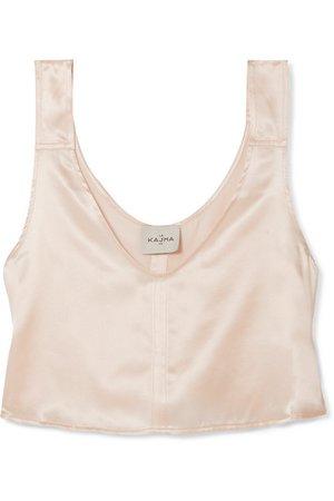 Le Kasha | Kuga cropped silk-satin top | NET-A-PORTER.COM