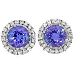 Tiffany and Co. 'Soleste' Platinum Diamond and Tanzanite Earrings For Sale at 1stdibs