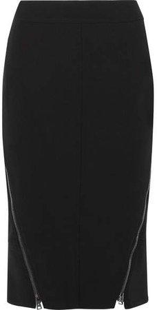 Leather-trimmed Wool-blend Midi Skirt - Black