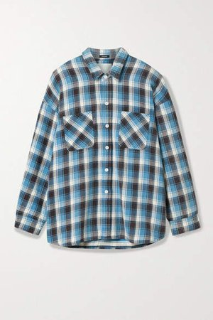 Oversized Checked Cotton-flannel Shirt - Blue