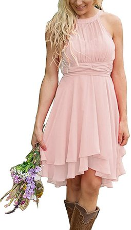 Amazon.com: XingMeng Short A Line Halter Chiffon Prom Homecoming Bridesmaid Dresses: Clothing