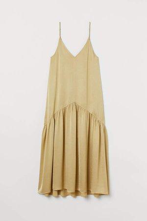 V-neck Satin Dress - Yellow