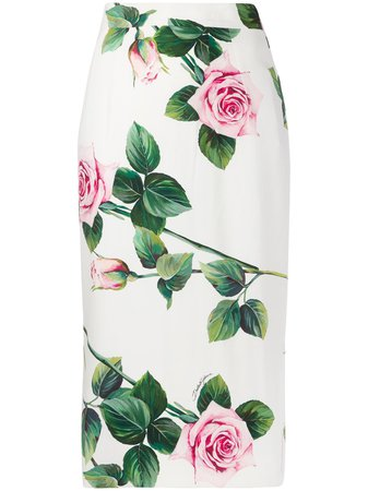 Dolce & Gabbana Rose Print Pencil Skirt Ss20 | Farfetch.com