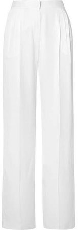 Pleated Crepe Wide-leg Pants - White