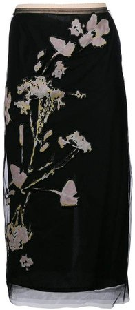 floral embroidered pencil skirt