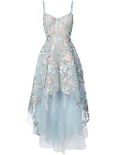 Black High Low Prom Dresses Floral Embroidery Lace Sky Blue Prom Dresses ARD1336