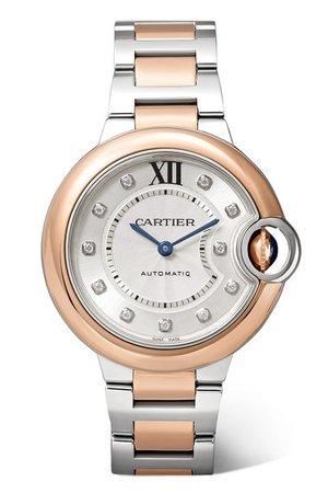 Cartier   Ballon Bleu de Cartier 33mm 18-karat pink gold, stainless steel and diamond watch   NET-A-PORTER.COM