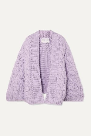 Lilac Cable-knit wool cardigan | I Love Mr Mittens | NET-A-PORTER