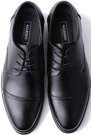 Amazon.com | Marino Oxford Dress Shoes for Men - Formal Leather Mens Shoes - Black - Cap-Toe - 8.5 D(M) US | Oxfords