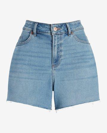 High Waisted Medium Wash Raw Hem Curvy Jean Shorts | Express
