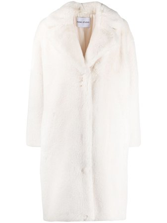 White STAND STUDIO faux-fur coat - Farfetch