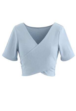 Crisscross Front Short Sleeves Ribbed Top in Dusty Blue - Retro, Indie and Unique Fashion