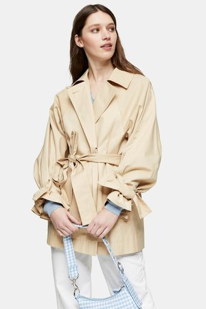 Cotton Cropped Trench Coat