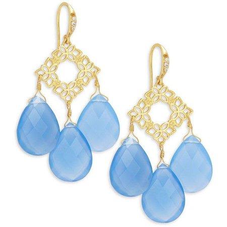 Light Blue & Gold Hanging Earrings