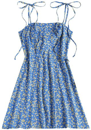 Amazon.com: ZAFUL Women's Mini Dress Spaghetti Straps Sleeveless Boho Beach Dress (S, Blue-Z): Clothing
