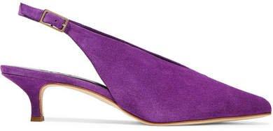 Lia Suede Slingback Pumps - Purple