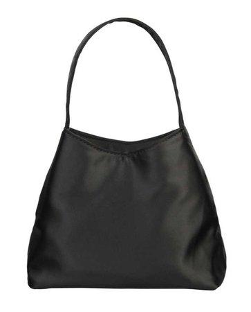 Brie Leon The Mini Chloe Satin Top Handle Bag black