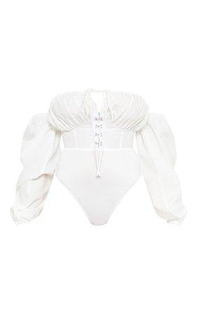 Petite White Hook & Eye Bardot Bodysuit | PrettyLittleThing