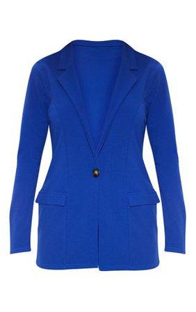 Blue Fitted Button Detail Blazer | PrettyLittleThing