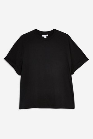 Black Boxy Roll T-Shirt | Topshop