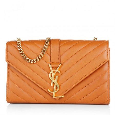 Saint Laurent Monogramme Orange Quilted Chain Bag Small in orange   fashionette