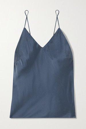 Tali Washed Silk-blend Satin Camisole - Blue