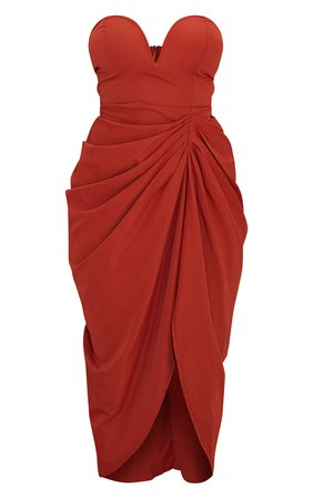 Rust Woven Bandeau V Bar Gathered Hip Midi Dress - Wedding Guest Dresses - Dresses - Women's Clothing   PrettyLittleThing USA