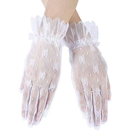 Ayliss Women Lace Gloves Short Wedding Gloves Elegant Finger Prom Gloves for Party (White) at Amazon Women's Clothing store