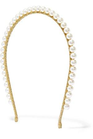 Jennifer Behr | Brinn gold-tone Swarovski pearl headband | NET-A-PORTER.COM