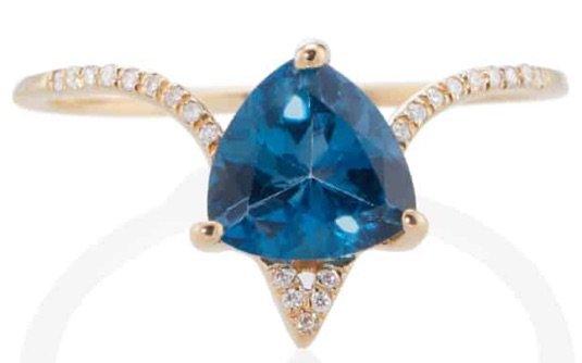 Yellow Gold Blue Topez Diamond Ring