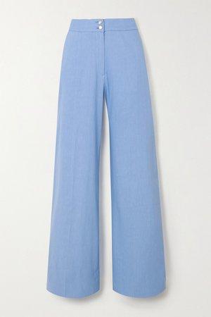 Lilac Sophia linen-blend wide-leg pants | Temperley London | NET-A-PORTER
