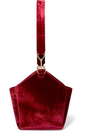 Tara Zadeh | Arezu crushed-velvet shoulder bag | NET-A-PORTER.COM