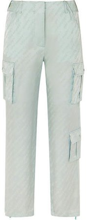 Satin-jacquard Straight-leg Pants - Mint