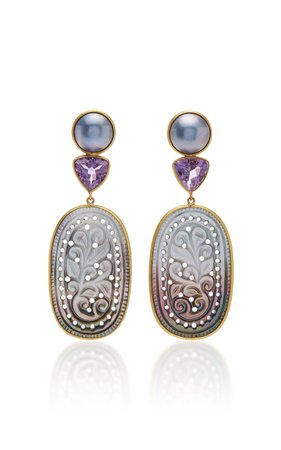 Bahina One of a Kind Carved Mother of Pearl Earrings with Blue Mabe Pearl