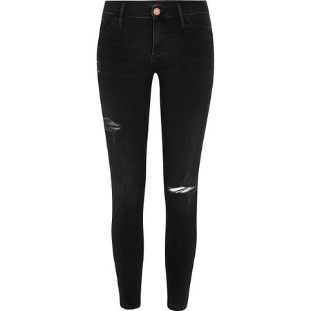 Black comfy low rise ripped jegging | River Island