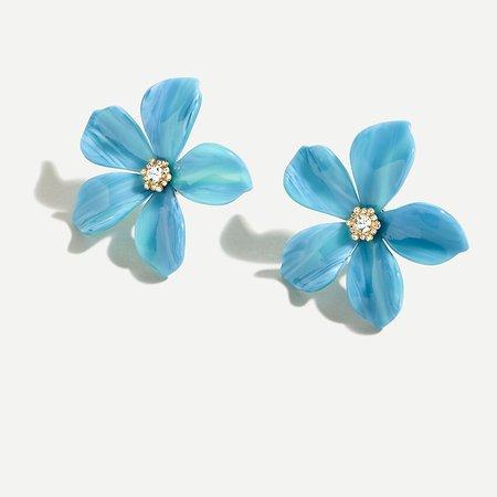 J.Crew: Acetate Flower Earrings With Pavé Detail blue