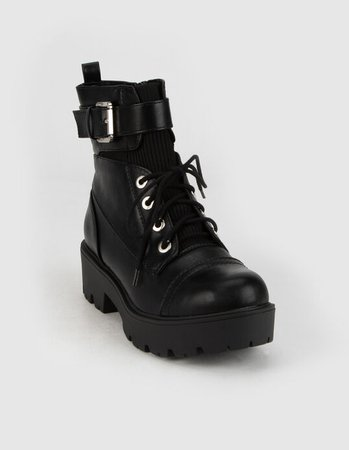SODA Lug Buckle Womens Combat Boots - BLACK - 377920100 | Tillys