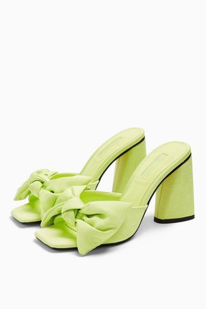 SAUCY Lime Green Bow Mules | Topshop
