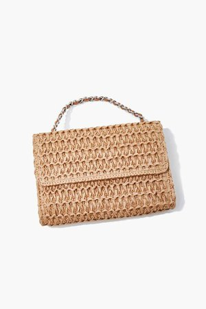 Faux Straw Basketwoven Crossbody Bag