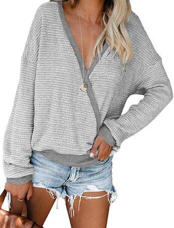 Amazon.com: NSQTBA Womens Deep V Neck Wrap Sweaters Long Sleeve Waffle Knit Pullover Tops Shirts: Clothing